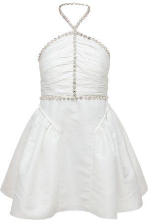 SELF-PORTRAIT Halter Neck Taffeta Mini Dress