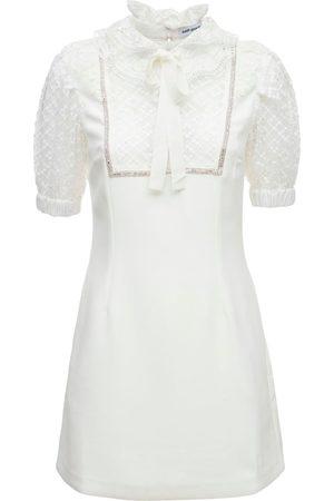 SELF-PORTRAIT Collared Crepe Mini Dress W/ Lace