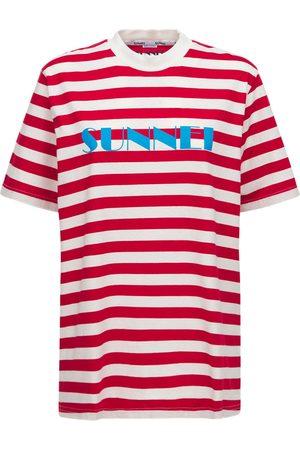 SUNNEI Logo Striped Cotton Jersey T-shirt