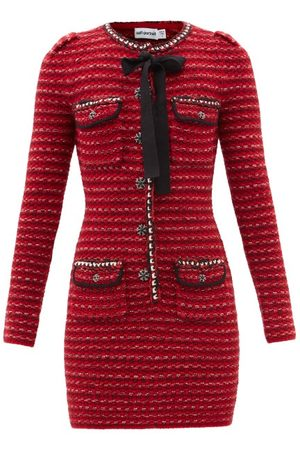 Self Portrait - Tweed-effect Wool-blend Knitted Mini Dress - Womens - Multi