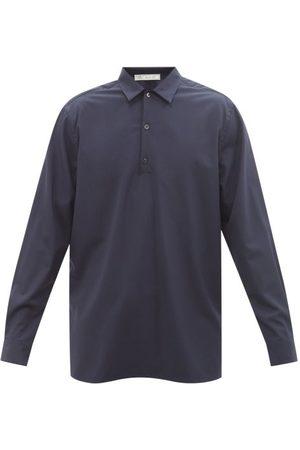 Umit Benan B+ Point-collar Virgin-wool Poplin Shirt - Mens - Navy