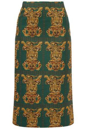 La DoubleJ Women Printed Skirts - Tiger Tiles-print Wool-blend Pencil Skirt - Womens - Print