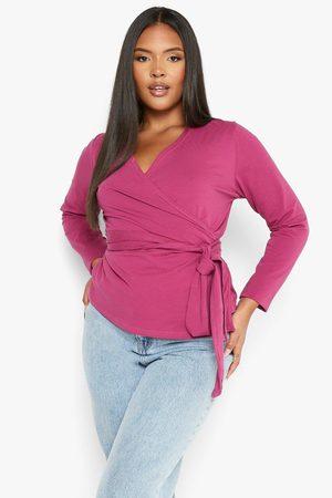 Boohoo Women Wrap tops - Womens Plus Jersey Wrap Front Long Sleeve Top - - 12