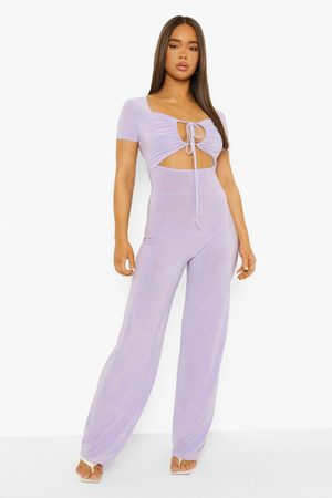 Boohoo Womens Slinky Cut Out Halterneck Wide Leg Jumpsuit - - 4