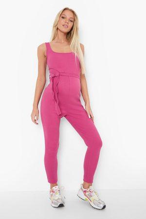Boohoo Women Jumpsuits - Womens Maternity Scoop Tie Waist Rib Jumpsuit - - 4