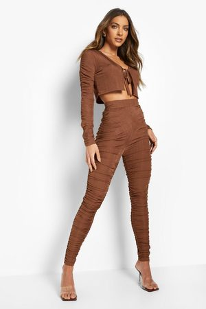 Boohoo Womens Recycled Ribbed Ruched Leggings - - 2
