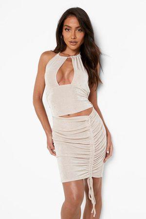 Boohoo Womens Slinky Cut Out Rouched Mini Dress - - 4