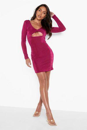 Boohoo Womens Slinky Cut Out V Hem Mini Dress - - 4