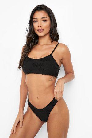 Boohoo Womens Towelling Embossed Hipster Bikini Brief - - 2