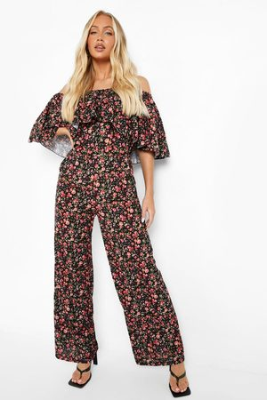 Boohoo Womens Floral Print Angel Sleeve Jumpsuit - - 4