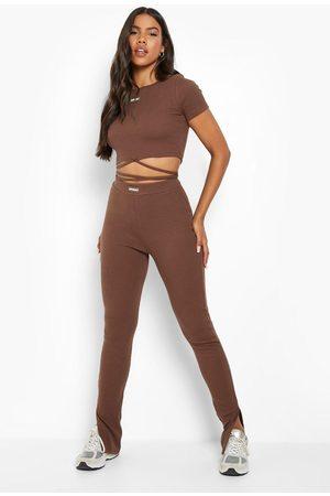 Boohoo Womens Premium Rib Split Hem Legging - - 2