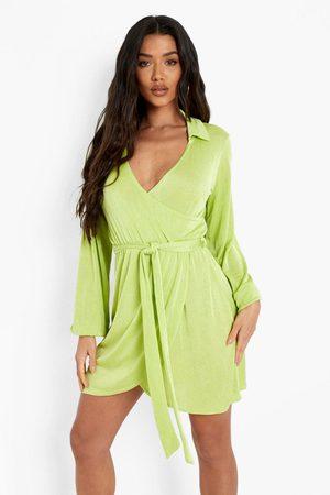 Boohoo Womens Wrap Over Tie Mini Shirt Dress - - 4