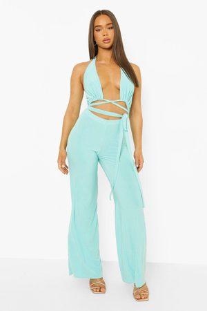 Boohoo Womens Slinky Cut Out Wide Leg Jumpsuit - - 4