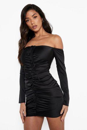 Boohoo Womens Satin Bardot Halterneck Rouched Mini Dress - - 2