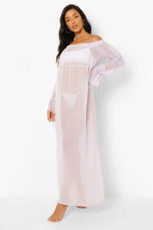 Boohoo Womens Bardot Beach Maxi Dress - - S