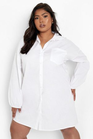 Boohoo Womens Plus Woven Elasticated Cuff Shirt Dress - - 12