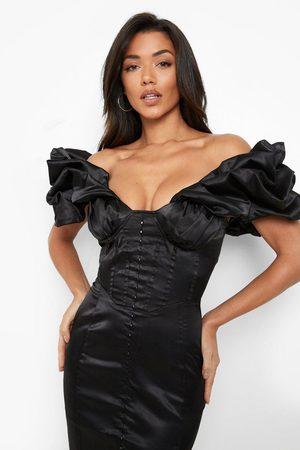 Boohoo Women Party Dresses - Womens Bardot Extreme Ruffle Corset Mini Dress - - 2