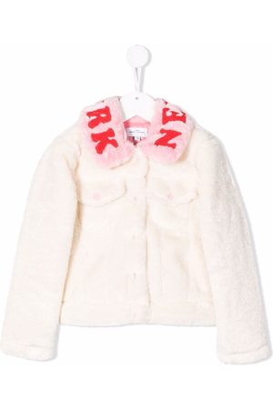 The Marc Jacobs Logo-embroidered faux-fur jacket - Neutrals