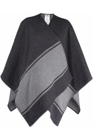 Fendi Women Ponchos & Capes - Stripe detail logo cape - Grey
