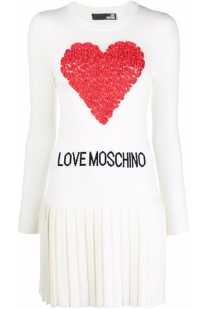 Love Moschino Logo-embroidered knitted dress - Neutrals