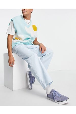 ASOS DESIGN Wide leg chinos with pleats in pastel blue-Blues