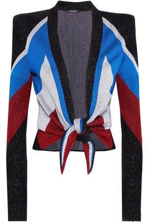 Balmain Women Cardigans - Woman Tie-front Metallic Jacquard-knit Cardigan Size 34