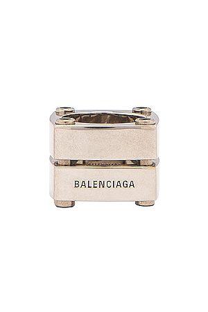 Balenciaga Gear Plate Ring in Metallic