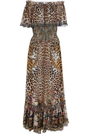 CAMILLA Printed off-shoulder silk dress
