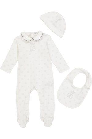 Dolce & Gabbana Kids Baby cotton onesie, hat and bib set