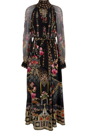 CAMILLA Embellished printed silk midi dress