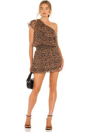 krisa X REVOLVE One Shoulder Ruffle Dress in Brown.