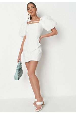 Missguided Women Party Dresses - Broderie Square Neck Puff Sleeve Mini Dress