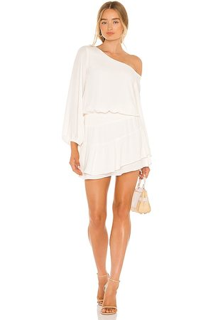 krisa One Shoulder Ruffle Skirt Dress in Ivory.