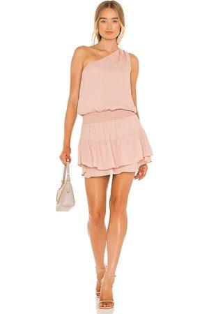 krisa One Shoulder Ruffle Mini Dress in Blush.