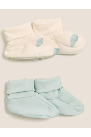 Boys Boots - 2pk Pure Cotton Booties (0-12 Mths)