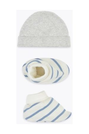 Boys Hats - 2 Piece Cotton Hat & Booties Set (0-12 Mths)