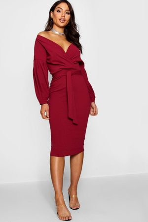 Boohoo Womens Recycled Off The Shoulder Wrap Midi Dress - - 4
