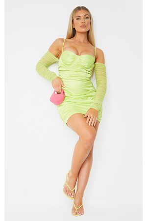 PRETTYLITTLETHING Women Bodycon Dresses - Lime Satin Ruched Mesh Sleeve Underwire Bodycon Dress