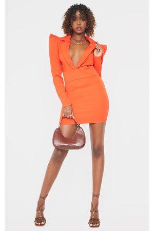 PRETTYLITTLETHING Woven Puff Shoulder Plunge Blazer Style Bodycon Dress