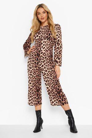 Boohoo Womens Leopard Wide Leg Jumpsuit - - 6