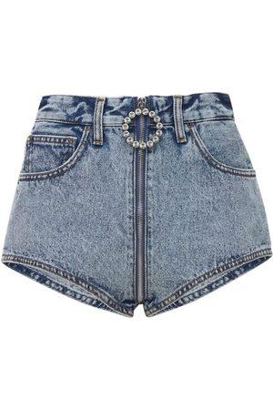 Alessandra Rich Embellished Cotton Denim Mini Shorts