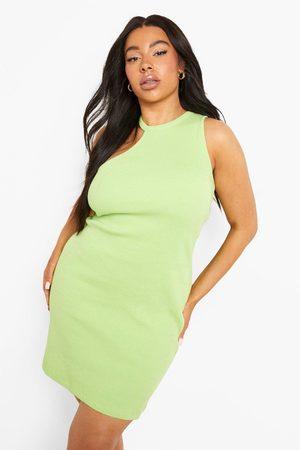 Boohoo Womens Plus Rib Asymmetric Mini Dress - - 12