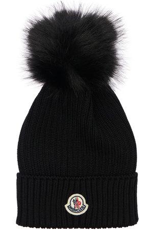 Moncler Virgin Wool Knit Beanie W/ Pompom