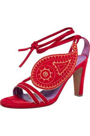 Hermès Suede Embroidered Tie Up Sandals Size 37