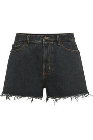 Saint Laurent Men Shorts - Baggy Denim Shorts W/ Raw Cut Detail