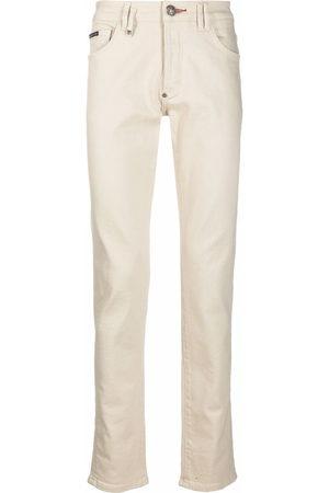 Philipp Plein Logo-plaque slim-fit jeans - Neutrals