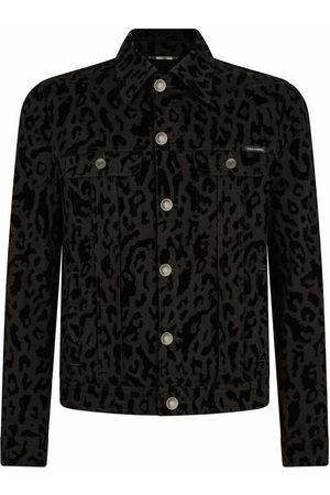 Dolce & Gabbana Animal-print denim jacket - Grey