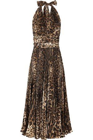 Dolce & Gabbana Pleated leopard-print dress
