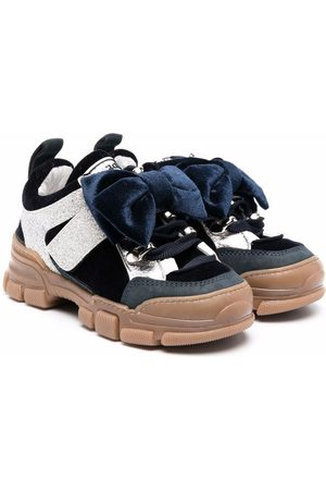 MONNALISA Girls Sneakers - Lace-up leather sneakers