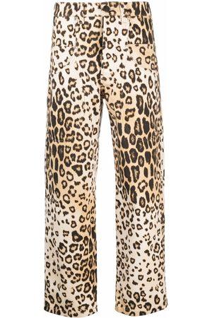 Etro Women Straight Leg Pants - Leopard-print trousers - Neutrals